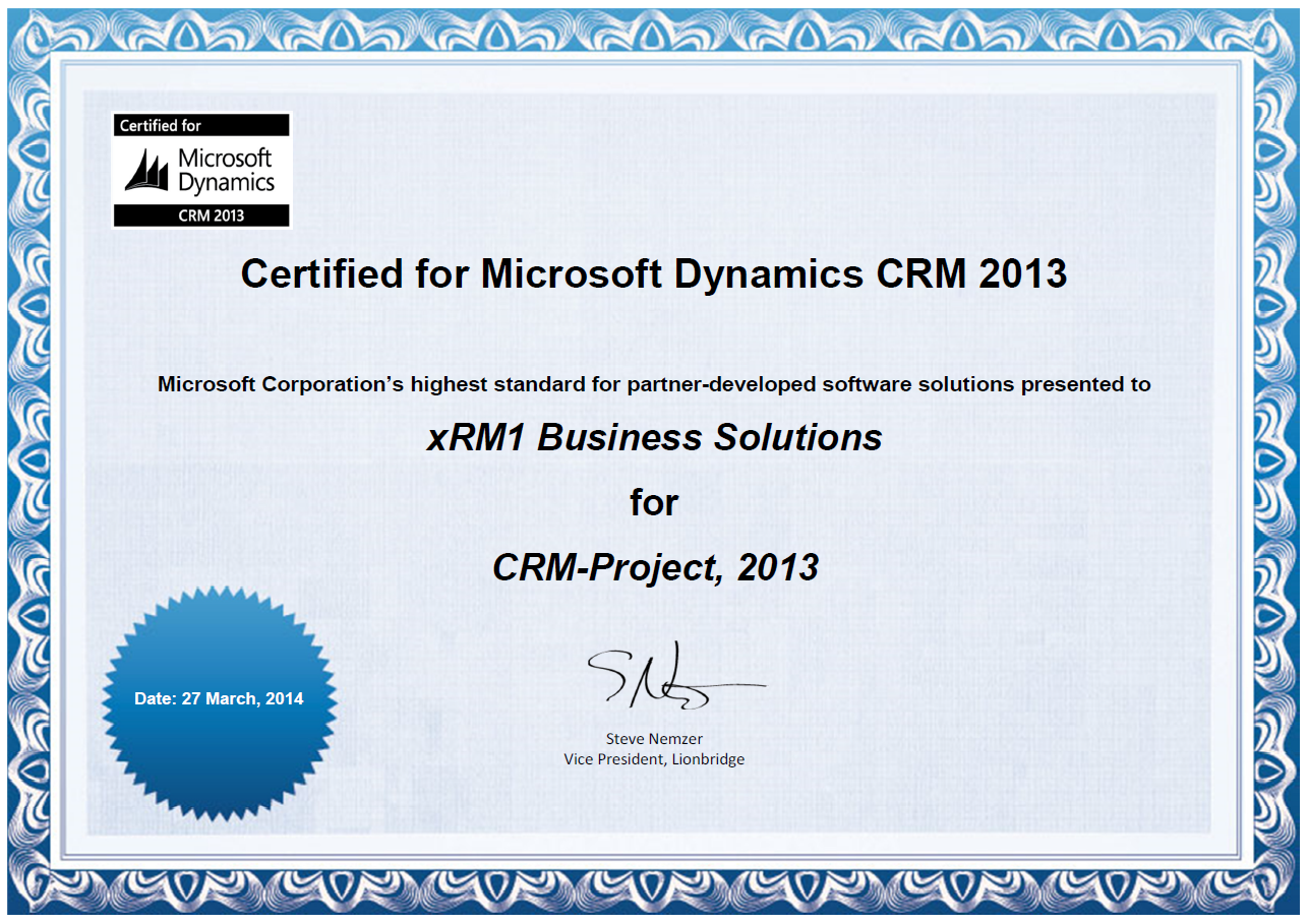 Xrm1 certificates and awards microsoft crm solution certificate xflitez Image collections